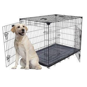 Cage-grillagée-d'intérieur-pour-chien-avec-bac-de-récupération-L-107-x-71-x-79-cm-Lucky-Dog-avec-chien