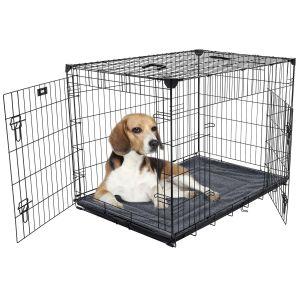 Cage-grillagée-d'intérieur-pour-chien-avec-bac-de-récupération-M/L-91-x-61-x-69-cm-Lucky-Dog-avec-chien