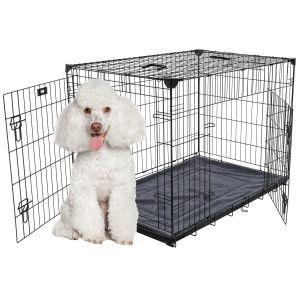 Cage-grillagée-d'intérieur-pour-chien-avec-bac-de-récupération-S/M-76-x-53-x-61-cm-Lucky-Dog-avec-chien