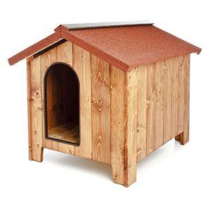 Niche-pour-chien-bois-épais-Europa-80-toit-rouge-taille-M/L