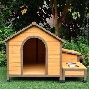 Niche à chien Harrier avec gamelles et coffre toit bois taille M vue face