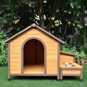 Niche à chien Harrier avec gamelles et coffre toit shingle taille M face