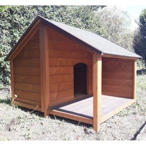 Niche-à-chien-Villa-avec-terrasse-toit-shingle-bois-Epicéa-FSC-taille-M