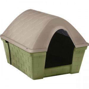 Niche-à-chien-plastique-Casa-Felice-vert-et-taupe-taille-M---Zolux